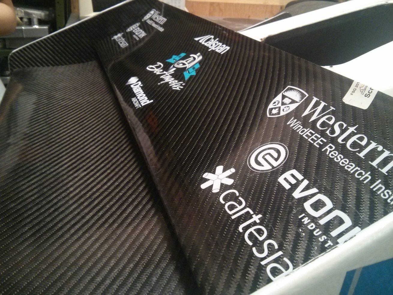 Closeup of sponsor decals